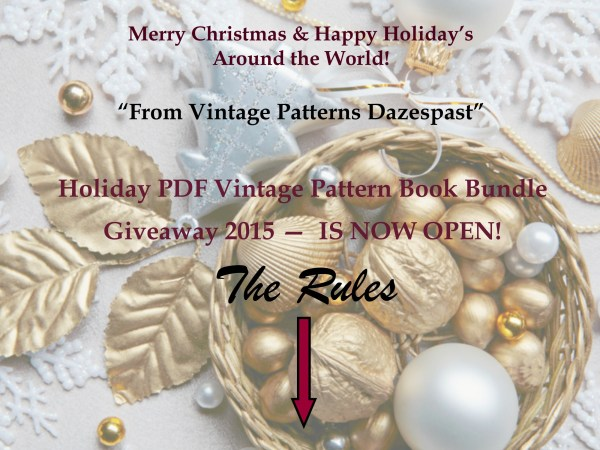 Holiday PDF Vintage Pattern Book Giveaway 2015 IS NOW OPEN!