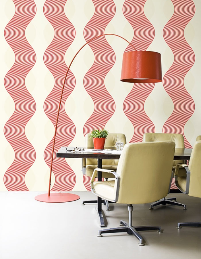 Good Wallpaper For Small Spaces Part - 5: Noise Red Vertical Striped Wallpaper - R1653