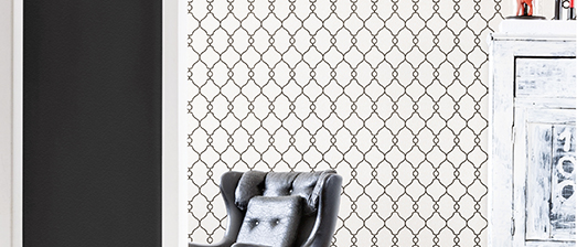 Simple Black and White Trellis Wallpaper