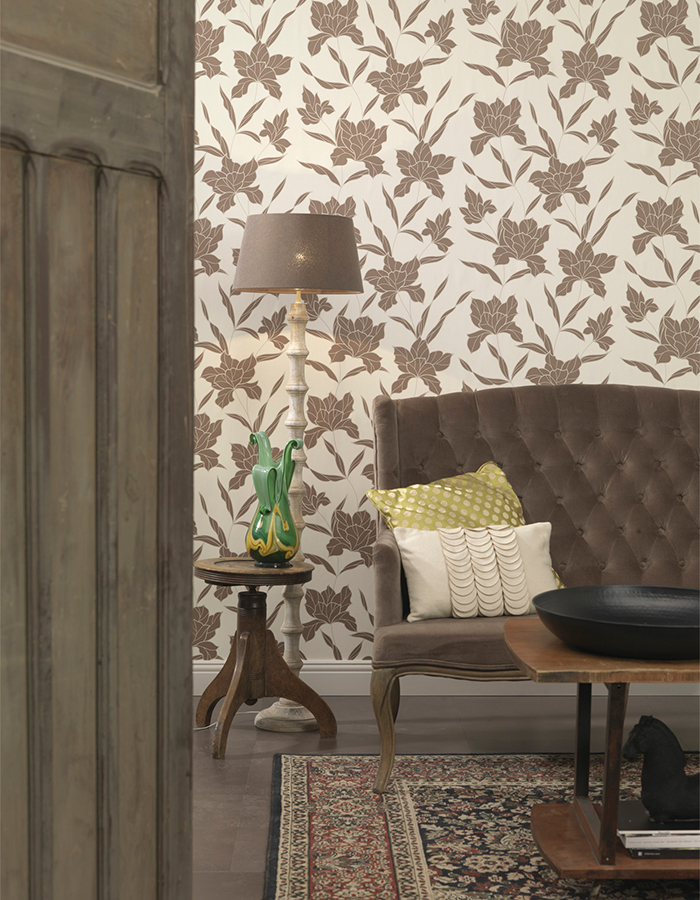 Brown Bloom Wallpaper Ideas for Living Room - S43702