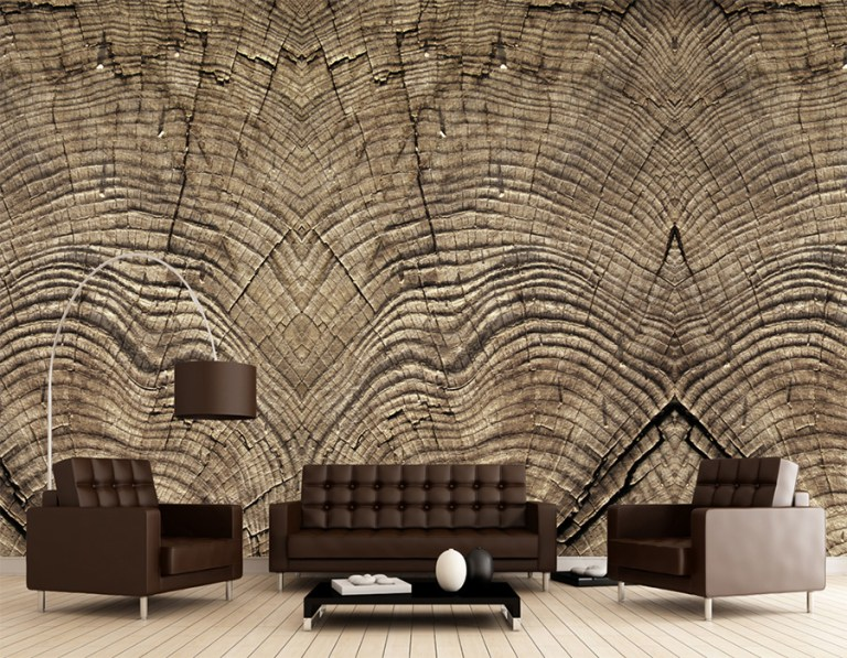 Stump Rings Faux Wood Wallpaper Mural M8918