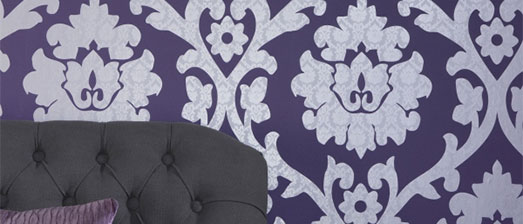 Plush Byzantium, Purple Damask Wallpaper R1042