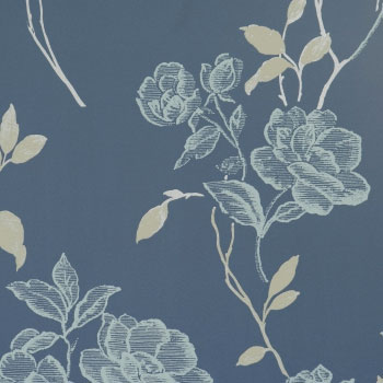 Playful Cerulean Traditional Floral Wallpaper R1572