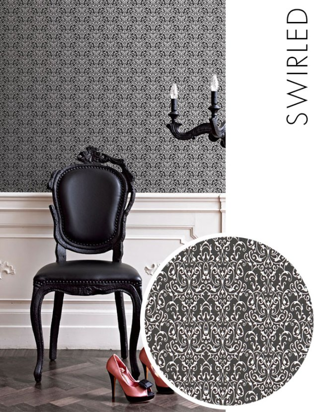 Black Swirled Wallpaper R2043
