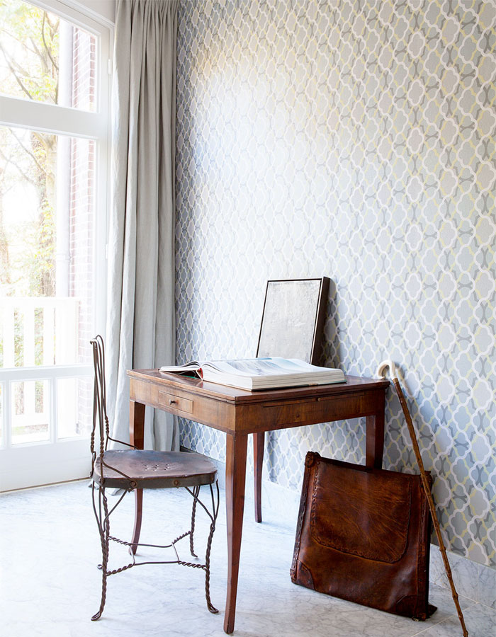 Green Billows Geometric Home Office Wallpaper R2230