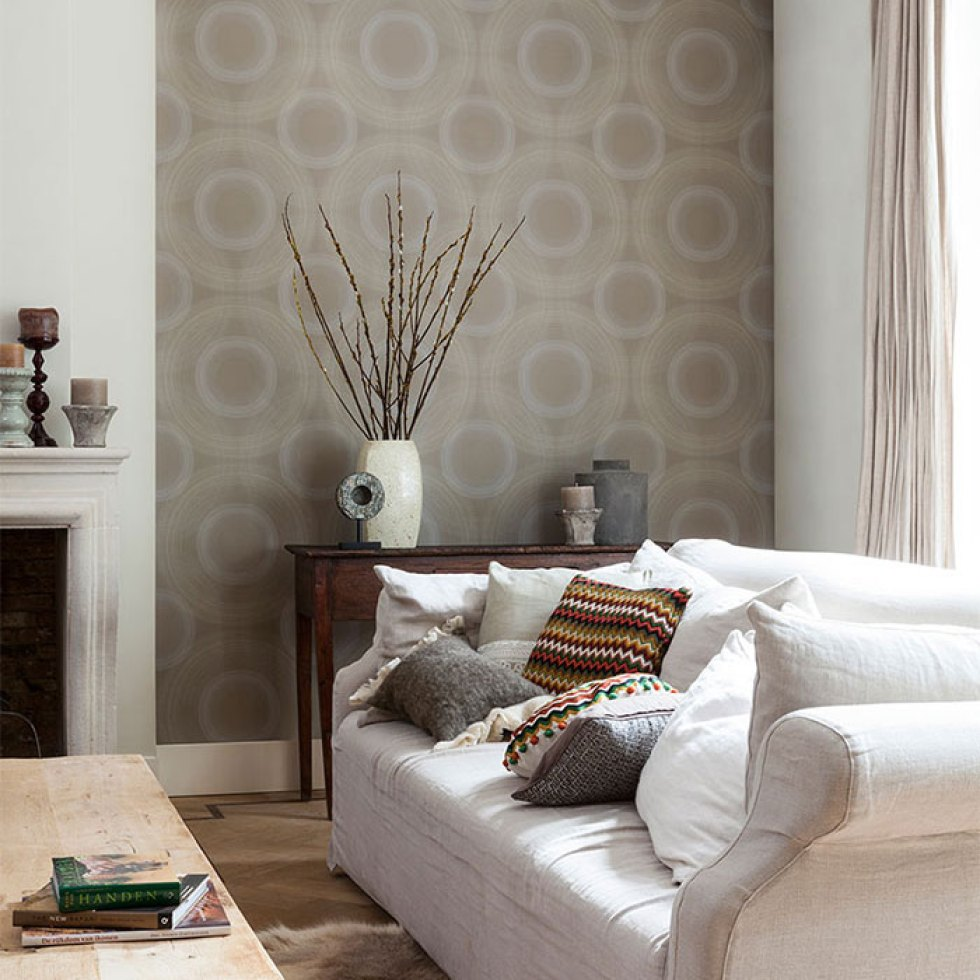 Ecru Rings Modern Home Wallpaper R2307