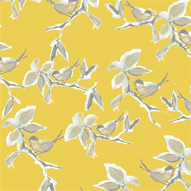 Yellow Dwell Vintage Bird Wallpaper R2318