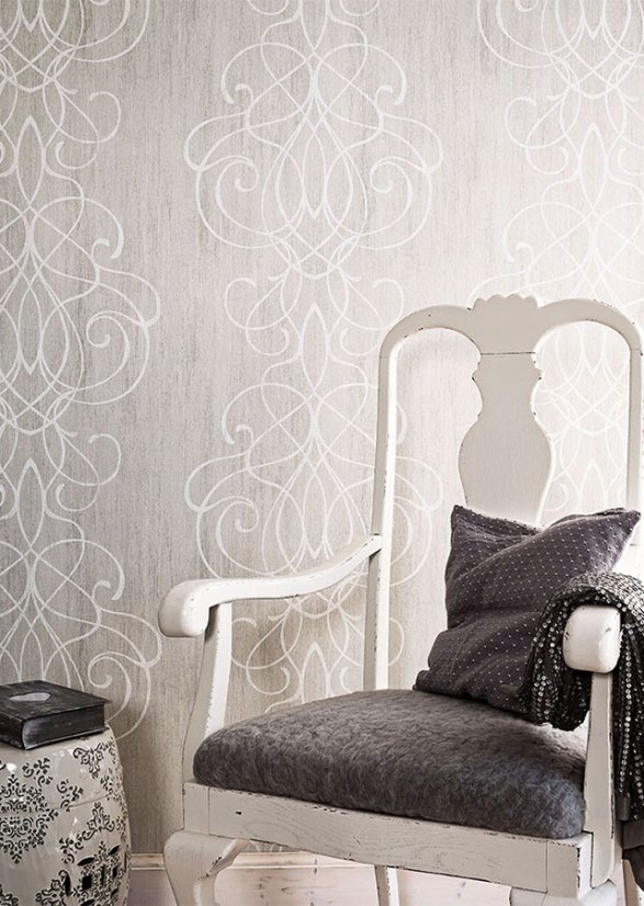 gainsboro embroid contemporary striped damask wallpaper r2464 - Contemporary Damask Wallpaper