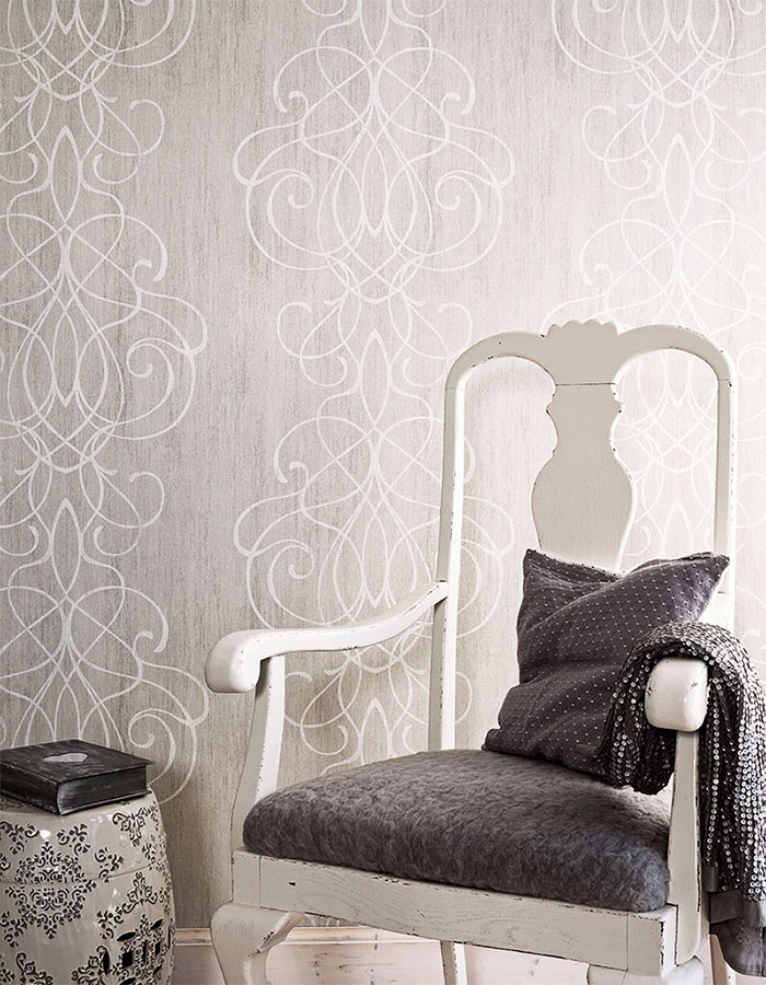 Gainsboro Embroid Contemporary Striped Damask Wallpaper R2464