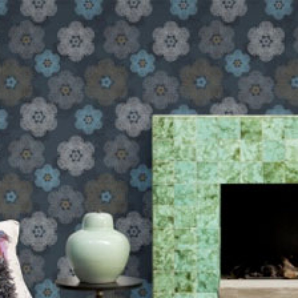 Floral Medallion Denim Wallpaper R1903