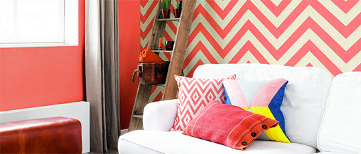 Coral Chevron Stripe Wallpaper R2555