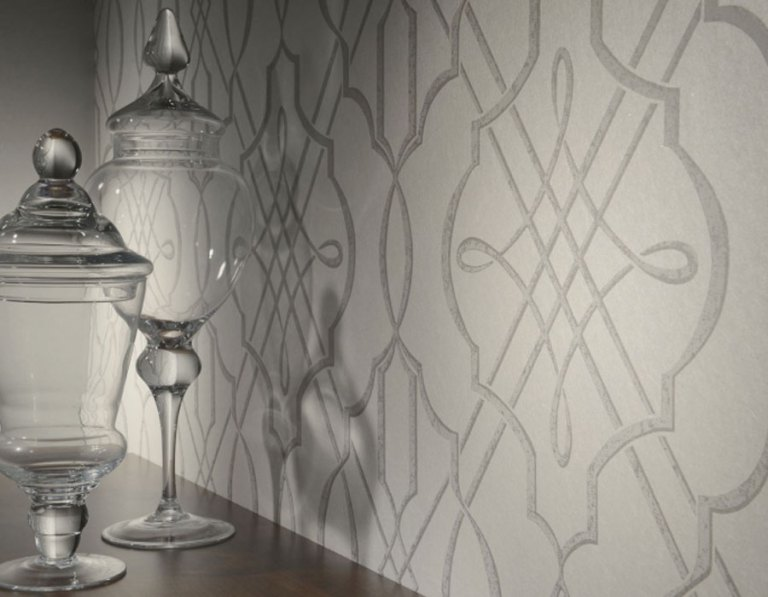Arabesque Grey Wallpaper for Powder Room R1863