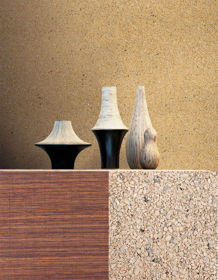 Gold Mica Wallpaper for Powder Rooms (R2201), Sisal Bronze Grasscloth Wallpaper (R2019), Sand Mica Wallpaper for Powder Room (R2203)