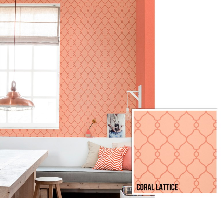Coral Lattice Geometric Wallpaper R2551 | Walls Republic