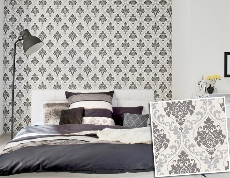 Ornamental Traditional Damask Wallpaper by Walls Republic | Bedroom Design Trends