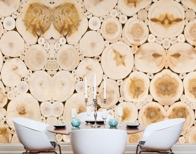 Stump Rings Faux Wood Wallpaper as a Dining Room Feature Wall M8923