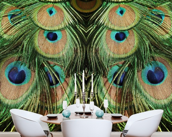 Peacock Faux Animal Wallpaper in a Dining Room