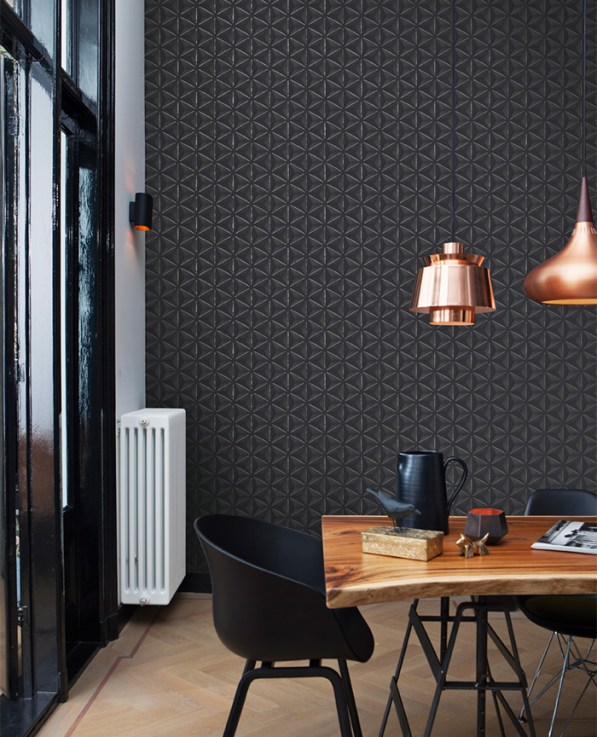 Black delusional geometries wallpaper by Walls Republic