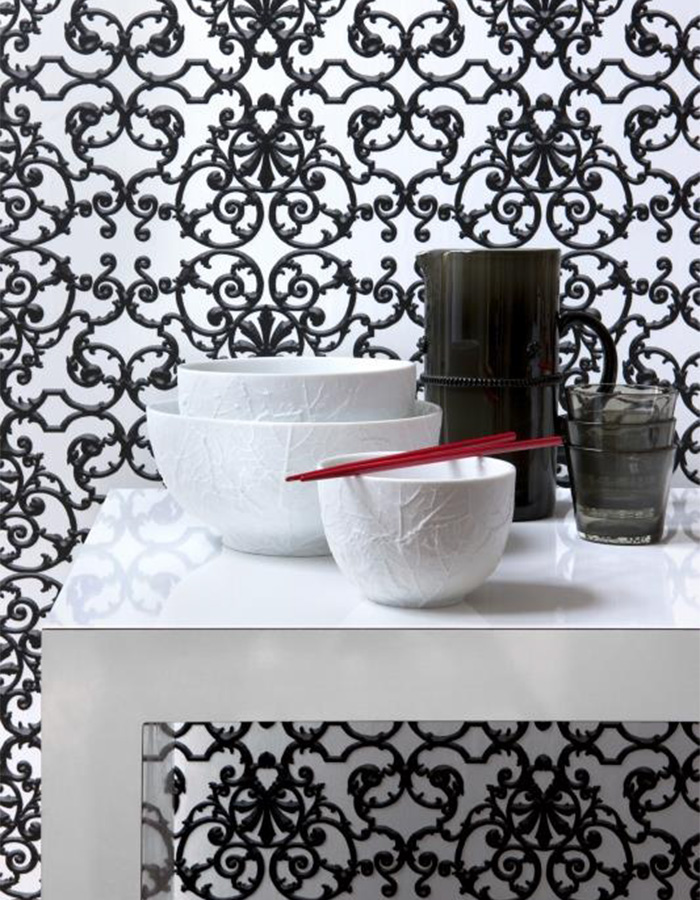 Ornate black and white wallpaper | SR1534 Walls Republic