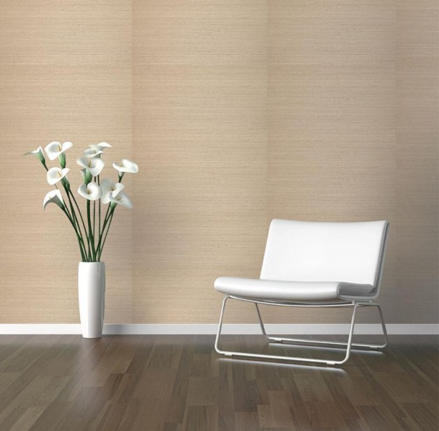 Here is an example of a clean and simplistic use of sisal grasscloth wallpaper with a beautifully paneled overall look