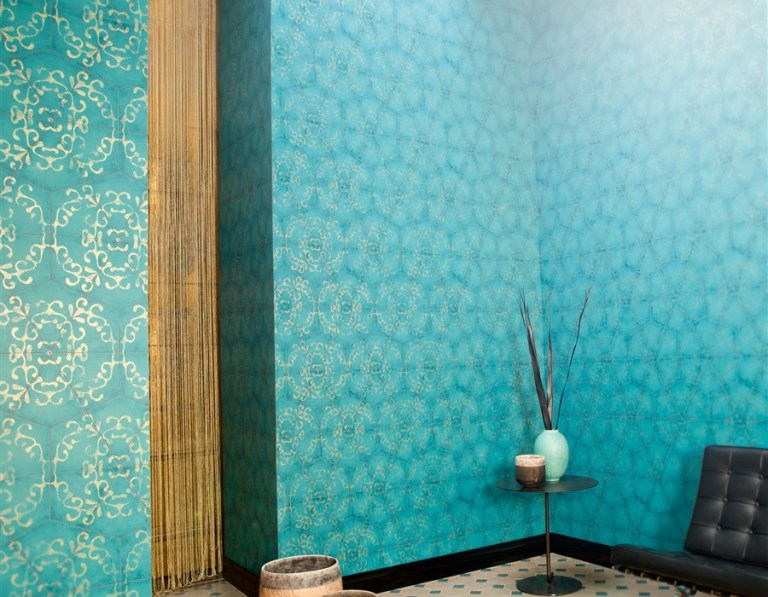 This luxurious octagonal tile in turquoise uses pattern in sophistication. Tiled wallpaper is another crafty way to fuse pattern into your home as a feature wall. Tiled wallpaper creates a chic ornamented effect and looks great in smaller sectional applications.