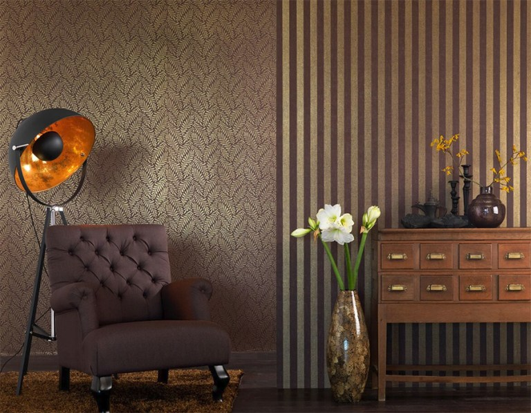 Gilded classic leaf patterning on a luxury elite textile linen wallcovering with a brushed metallic look. | 2016 wallpaper trends Walls Republic