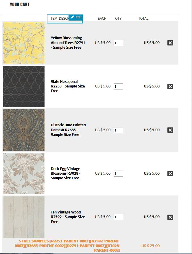 Order up to 5 free samples with Walls Republic wallpaper