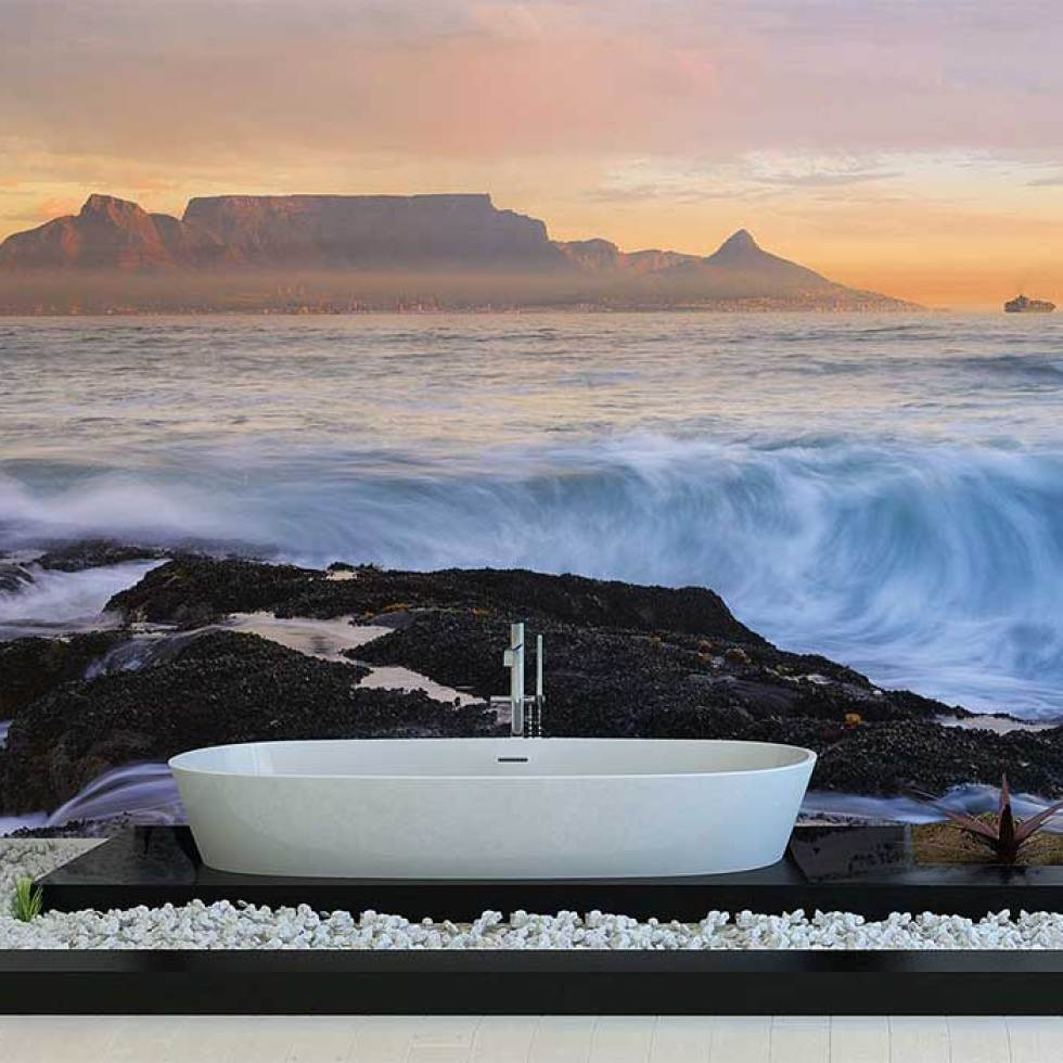 Cape Town Waters M9124 | walls republic pantone rose quartz and serenity wallpaper