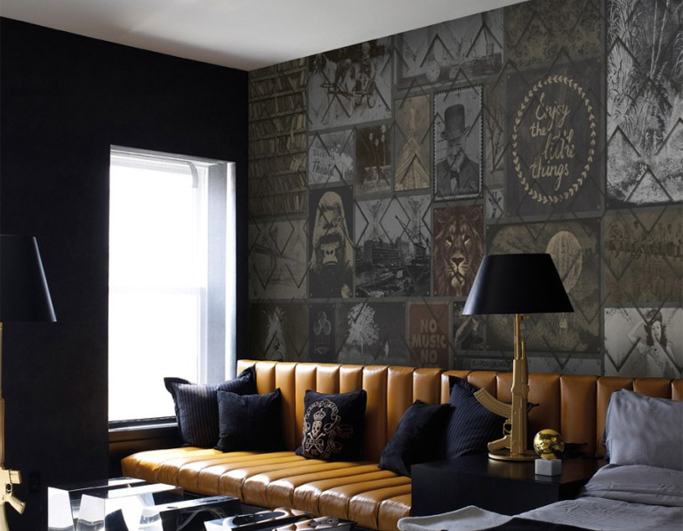 Vintage collage paneled mural | 2016 wallpaper trends Walls Republic