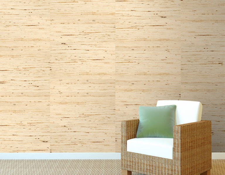 Arrowroot Off-White Grasscloth Wallpaper R1985