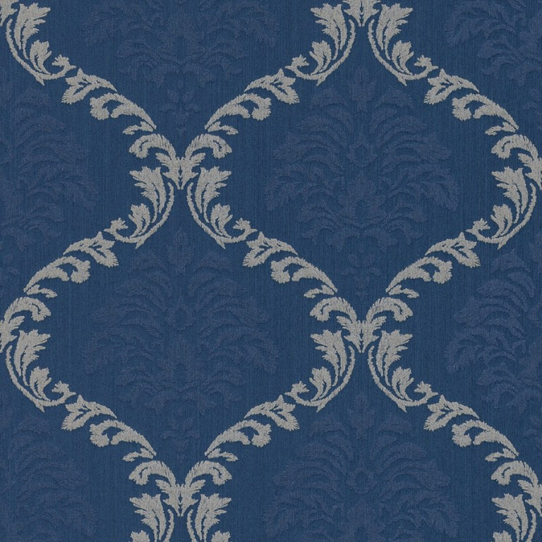 Deep royal blue wallpaper for a fancy feature wall