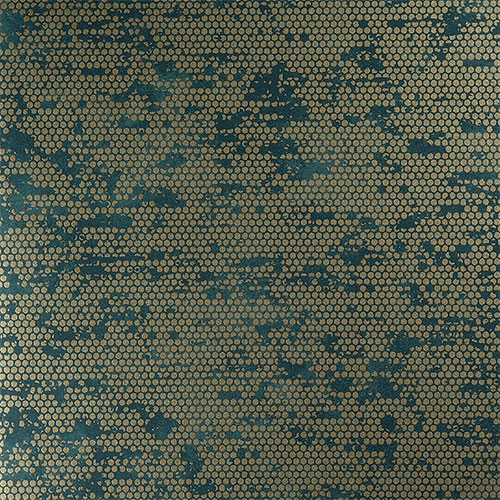 Spotted surprises of gold paired with splotches of teal in this chic wallpaper R3797