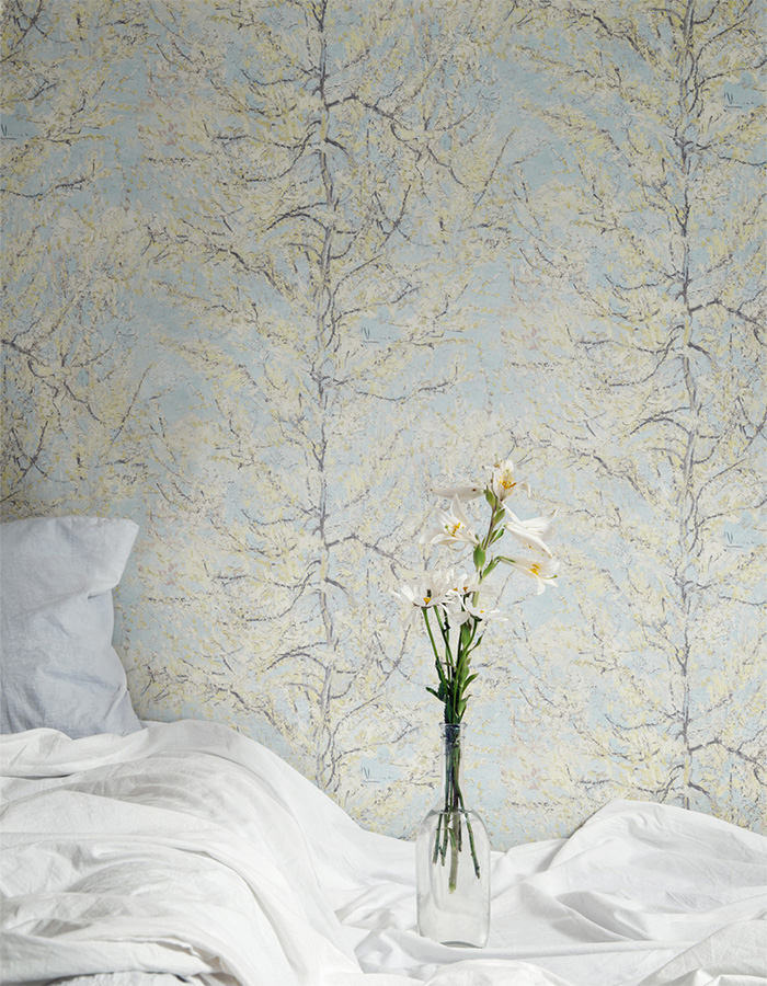 "Dive into the famous painting ""The Pink Peach Tree"" by Vincent Van Gogh with this calming pastel blue version (R2797)"