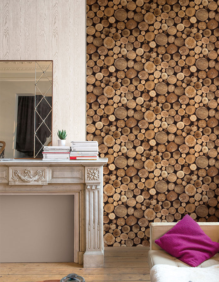 Contemporary Faux Wood Nature Tree Stump Brown Firewood Wallpaper R3707