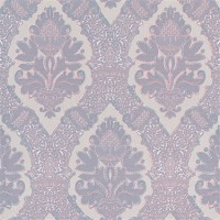 Contemporary Damask Floral Geometric Mosaic Fields Blue and Pink R4542