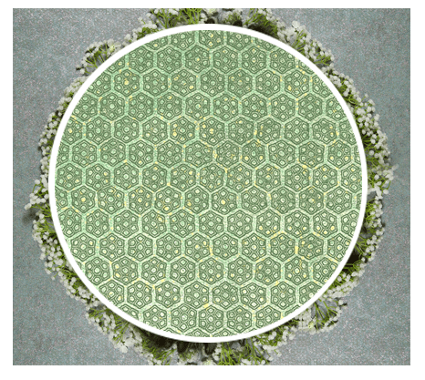 a geometric wallpaper featuring honeycomb patterns in lime and forest green
