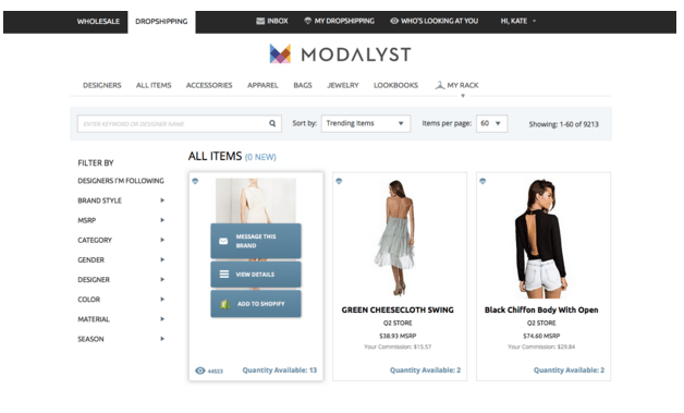 dropshipping modalyst we are pop up