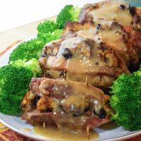Baked Stuffed Pork Chops with Moscato Gravy #SundaySupper