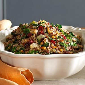 Herbed Quinoa and Red Rice Stuffing with Kale and Pine Nuts