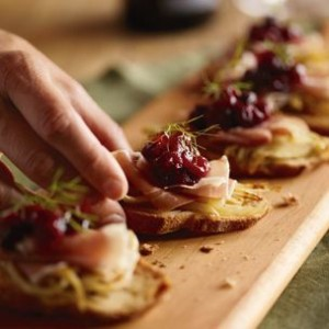 Roasted Fennel and Prosciutto Crostini with Cranberry-Citrus Marmalade