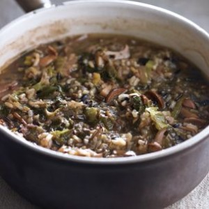 Wild Rice Soup with Porcini and Escarole