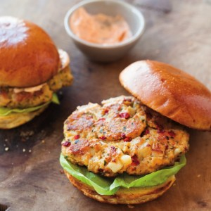 Chickpea & Roasted Red Pepper Burgers with Smoked Paprika Mayonnaise