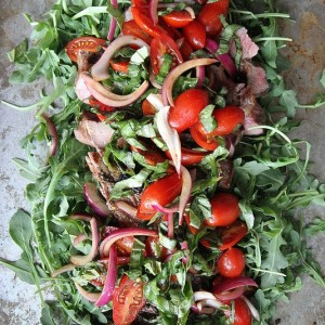 Grilled Steak with Arugula and Cherry Tomato and Basil Salsa