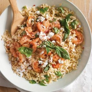 Orzo with Feta, Basil and Shrimp