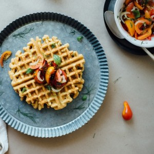 Zucchini-Basil Chickpea Waffles with Tomato & Shaved Fennel Salad