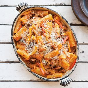 Baked Rigatoni with Fennel, Sausage and Peperonata