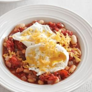 Poached Eggs with White Bean-Tomato Ragout