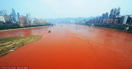In China a river tuned red because of chemicals