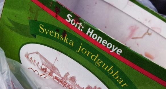 Jordgubbsask med texten Honeoye