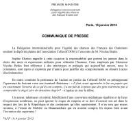 Communiqué de presse AFP de Mme Sophie Elizéon